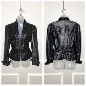 Cache beaded ruched peplum leather zip up jacket